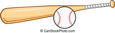 base-ball, bois, balle, chauve-souris