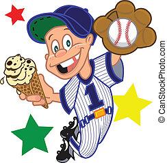 base-ball, cône, gosse