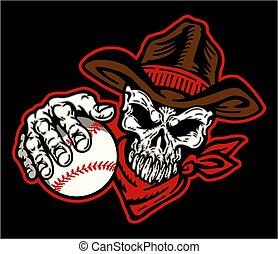 base-ball, crâne, cow-boy