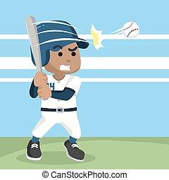 base-ball, frapper, balle, africaine, joueur