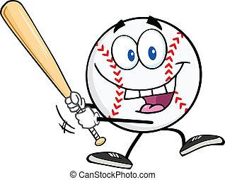 base-ball, heureux, balle