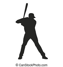 base-ball, player., vecteur, silhouette