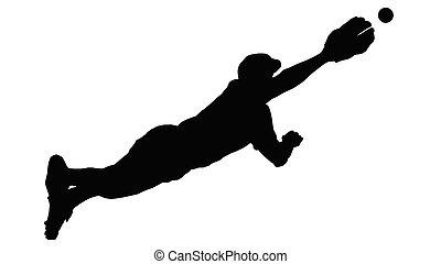 base-ball, plongée, défenseur