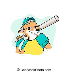 base-ball, portrait, agréable, joueur, renard, vecteur, illustration, sourire, graphique