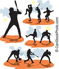 base-ball, silhouettes, vecteur, ensemble