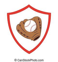 base-ball, sport, emblème, gant, icône