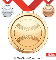 base-ball, symbole, médaille, intérieur, or