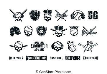 base-ball, thème, graphique, ensemble, éléments