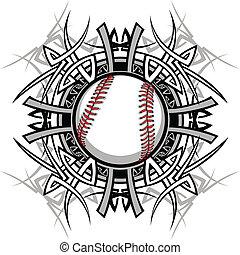 base-ball, tribal, graphique, im, softball