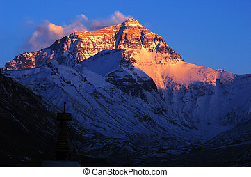 Mount Everest - Base Camp of Mount Everest at sunset in...