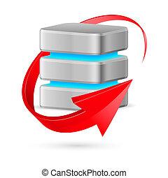 base dados, actualização, símbolo., ícone