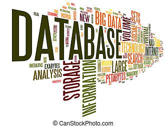 base dados, conceito, em, palavra, nuvem