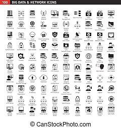 base dados, jogo, pretas, rede, ícones