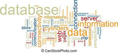 base dados, palavra, nuvem