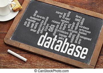 base dados, palavra, nuvem, ligado, quadro-negro