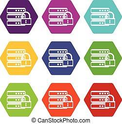 base de datos, con, candado, icono, conjunto, color, hexahedron