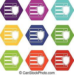 base de datos, con el protector, icono, conjunto, color, hexahedron