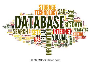base de datos, concepto, en, palabra, nube