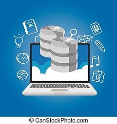 base de datos, datos, en, el, nube, red, multimedia, almacenamiento, símbolo