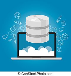 base de datos, datos, en, el, nube, red, multimedia, almacenamiento, símbolo, icono, computador portatil