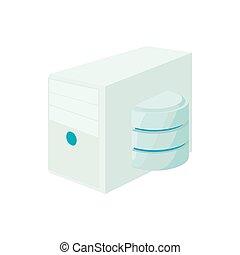 base de datos, de, icono de la computadora, caricatura, estilo