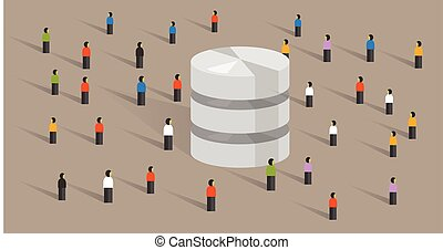 base de datos, grande, datos, servidor, web ofrecer, gente, multitud, compartido, juntos