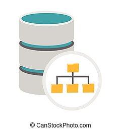 base de datos, icono, dirección, arquitectura, símbolo