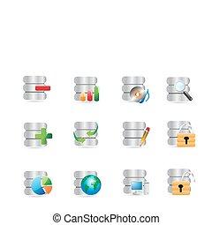 base de datos, iconos