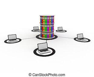 base de datos, internet, concepto
