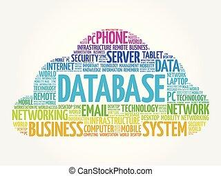 base de datos, palabra, nube, collage