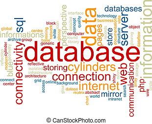 base de datos, palabra, nube