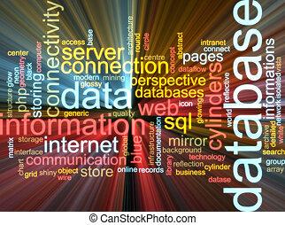 base de datos, palabra, nube, encendido