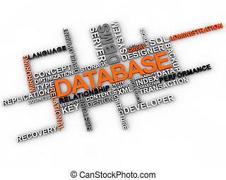 base de datos, palabra, nube, encima, fondo blanco