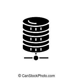 base de datos, red, icono, vector, ilustración, negro, señal, en, aislado, plano de fondo