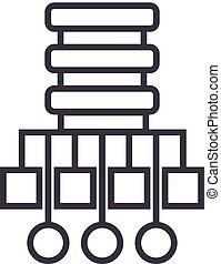 base de datos, red, ilustración, vector, línea, icono, señal, ilustración, fondo, editable, golpes