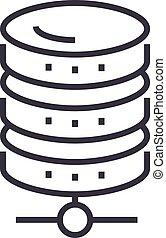 base de datos, red, vector, línea, icono, señal, ilustración, fondo, editable, golpes