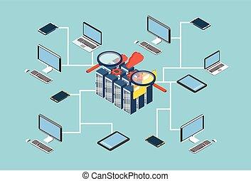 base de datos, servidor, búsqueda, datos, 3d, isométrico, diseño