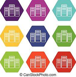 base de datos, servidores, icono, conjunto, color, hexahedron