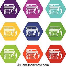 base de datos, y, cortafuegos, icono, conjunto, color, hexahedron
