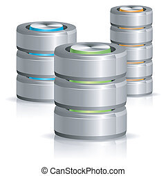base de datos, y, disco duro, icono