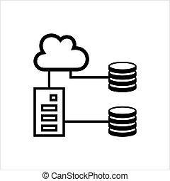 base données, base, icône, données, nuage, icône