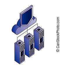 base données, calculer, stockage, serveur, connexion, protection, nuage