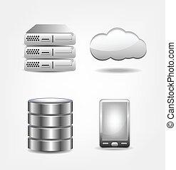 base données, collection, icônes