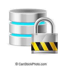 base données, fermé, icône