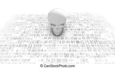base données, infecting, malveillant, virus., serveurs, informatique, code.