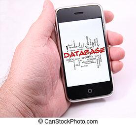 base données, mot, nuage, sur, possession main, moderne, écran tactile, téléphone