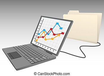 base données, ordinateur portatif, chemise, données, magasin