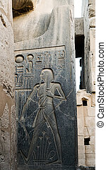 base, grasa, sculture, egipcio, hombre, templo, piedra, jeroglífico, abundancia, showign, luxor, karnak, egipto, granito, actuación, vientre