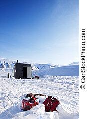 base, inverno, acampamento