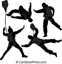 Base Jumping Silhouette on white background